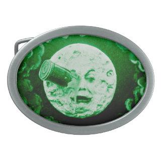 Un viaje al tono del verde de la luna hebillas cinturón ovales