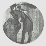 Un Victorian del beso/un vampiro con alas gótico Etiqueta Redonda