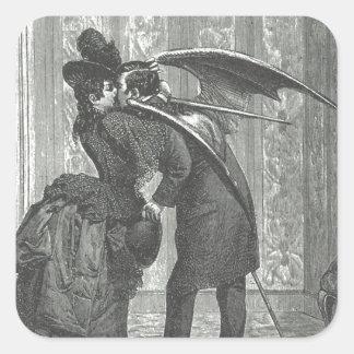 Un Victorian del beso/un vampiro con alas gótico Calcomanía Cuadrada Personalizada