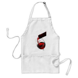 Un vidrio de vino rojo delantal
