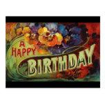 Un vintage del feliz cumpleaños pintado postal