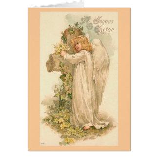 Un vintage feliz Pascua del ángel de Pascua Tarjeta Pequeña