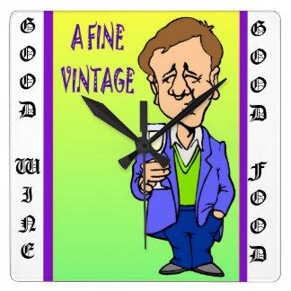 Un vintage fino, aprecio del vino reloj cuadrado