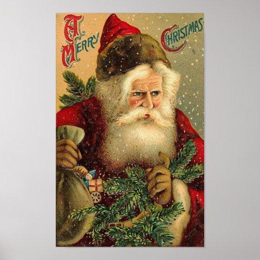 Un vintage Santa de las Felices Navidad Posters