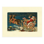 Un vintage Santa de las Felices Navidad Postal
