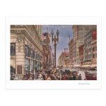 Un vistazo en Broadway ocupado Tarjetas Postales