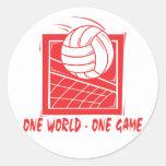 Un voleibol del juego del mundo uno pegatinas redondas