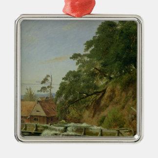 Un Watermill en Christiania, c.1834 Adorno Navideño Cuadrado De Metal