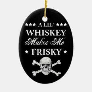Un whisky de Lil me hace juguetón Adorno Navideño Ovalado De Cerámica