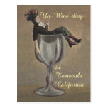 Un-wine-ding fun vintage Wine Gal glass Postcards