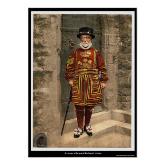 Un yoeman del guardia (alabardero), Londres, Ingla Póster