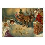 Un Yuletide alegre Santa que va abajo de la chimen Tarjetas