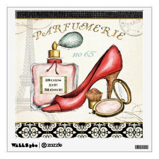 Un zapato rojo, una botella de perfume, y se rubor vinilo
