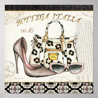Un zapato, un bolso, y un par de vidrios póster