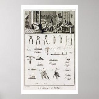 Un zapato y un bootmaker y sus herramientas, del ' póster