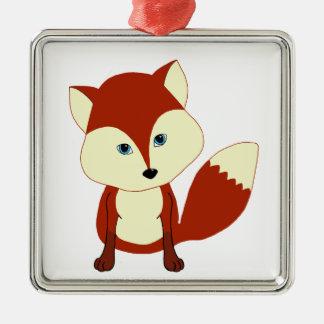 Un zorro rojo lindo adorno navideño cuadrado de metal