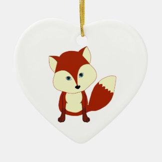 Un zorro rojo lindo adorno navideño de cerámica en forma de corazón