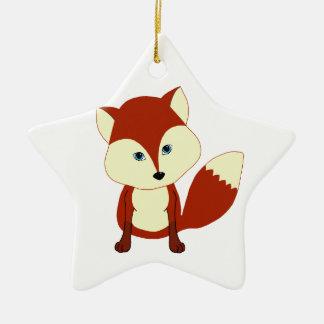 Un zorro rojo lindo adorno navideño de cerámica en forma de estrella