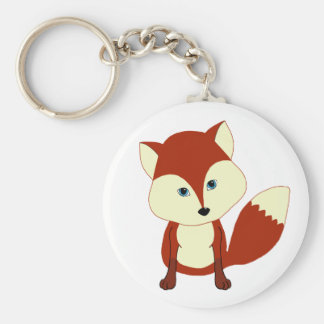 Un zorro rojo lindo llavero redondo tipo pin