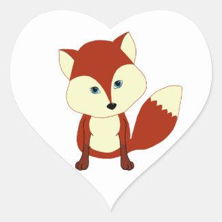 Un zorro rojo lindo pegatina de corazon personalizadas