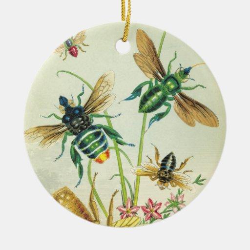 Un zumbido del ornamento hermoso de las abejas adorno redondo de cerámica