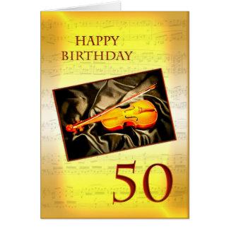 Una 50.a tarjeta de cumpleaños musical con un