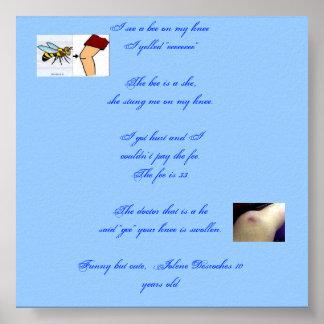 Una abeja en mi rodilla póster
