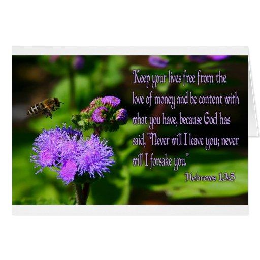 Una abeja que vuela durante un 13:5 de los hebreos tarjeta de felicitación