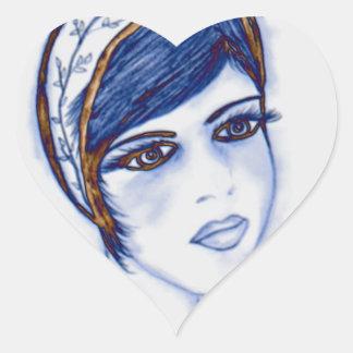 Una aleta dulce en azules y Brown Pegatina De Corazón