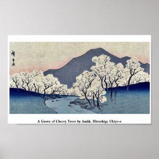 Una arboleda de cerezos por Andō, Hiroshige Ukiyo- Póster