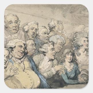 Una audiencia en el teatro del carril de Drury Pegatina Cuadrada