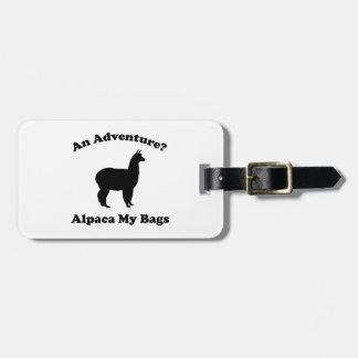 ¿Una aventura? Alpaca mis bolsos Etiquetas Bolsa