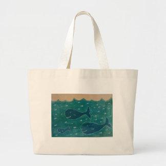Una ballena de un collage de la pintura del cuento bolsa de mano