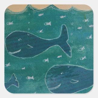 Una ballena de un collage de la pintura del cuento pegatina cuadrada