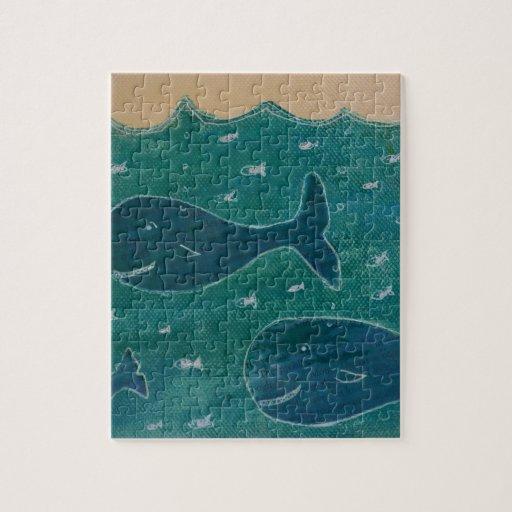 Una ballena de un collage de la pintura del cuento puzzles