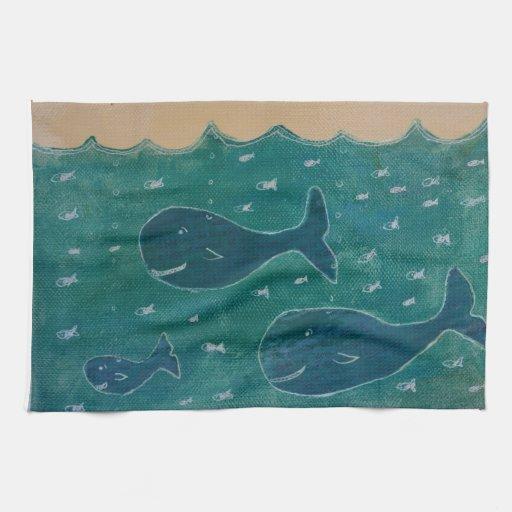 Una ballena de un collage de la pintura del cuento toallas de cocina
