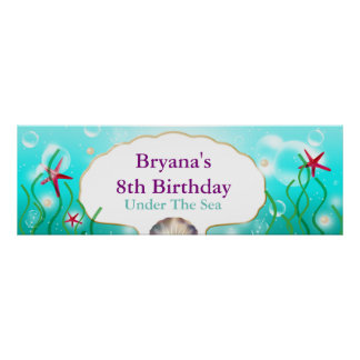 Una bandera de la fiesta de cumpleaños de la playa póster