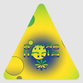 Una bandera de Mãe Linda el Brasil colorea arte Pegatina Triangular