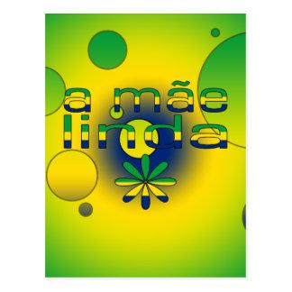 Una bandera de Mãe Linda el Brasil colorea arte Postal