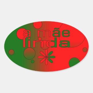 Una bandera de Mãe Linda Portugal colorea arte pop Pegatina Ovalada