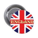 Una bandera de Union Jack con Inglaterra escrita e Pin Redondo De 2 Pulgadas