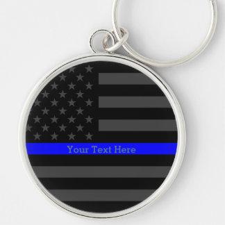 Una bandera fina de Blue Line los E.E.U.U. Llavero Redondo Plateado