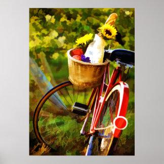 Una barra de pan un jarro del vino y de una bici posters