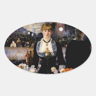 Una barra en el Folies-Bergere, 1881-82 Pegatina Ovalada