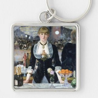 Una barra en el Folies Bergère, Édouard Manet Llavero Cuadrado Plateado