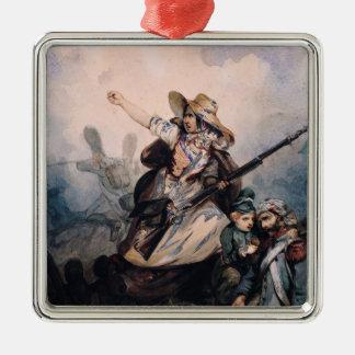 Una barricada en 1830, 1834 adorno navideño cuadrado de metal