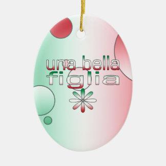 Una Bella Figlia Italy Flag Colors Pop Art Ceramic Ornament