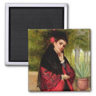 Una belleza española, 1872 (aceite en lona) imán cuadrado
