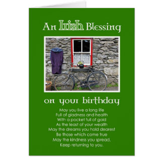 Una bendición irlandesa en su cumpleaños tarjeta de felicitación