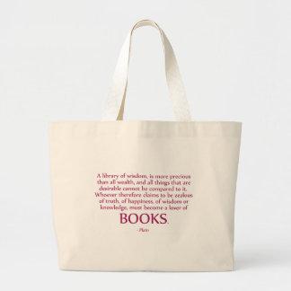 Una biblioteca de la sabiduría es más preciosa bolsa tela grande